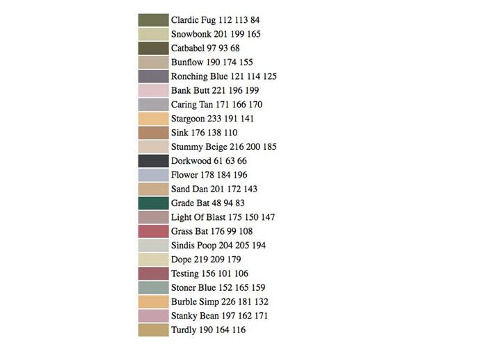 رنگهای نامگذاری شده توسط هوش مصنوعی