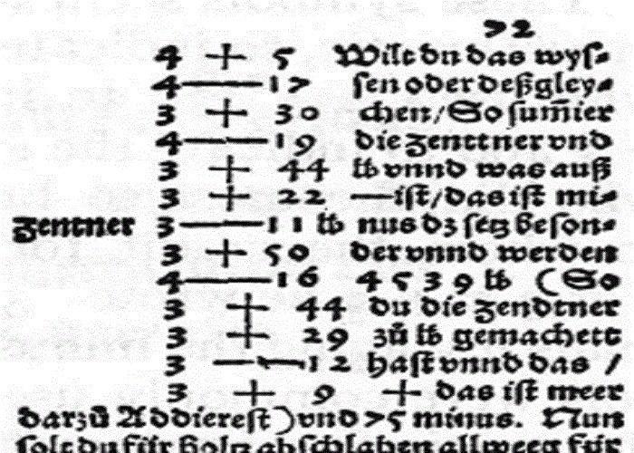 اولین نوشته با علامت جمع و تفریق امروزی / The first text with contemporary symbols of plus and minus
